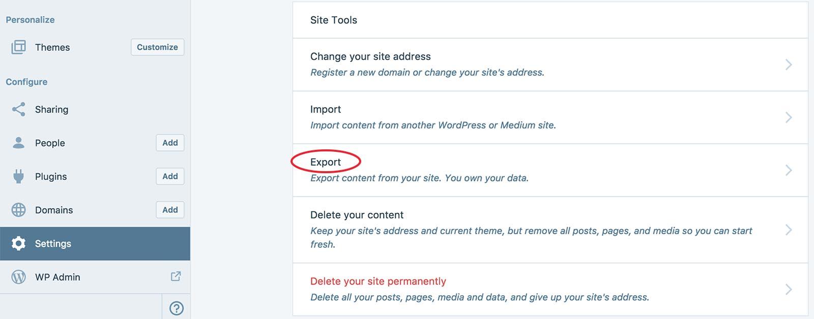 Export your old WordPress.com blog
